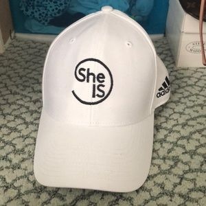 She is White hat adidas NWOT